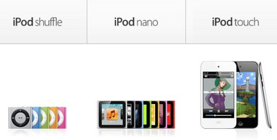 ipod shuffle nano touch