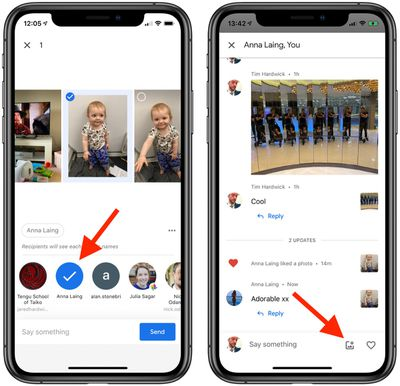 how to use messaging in google photos