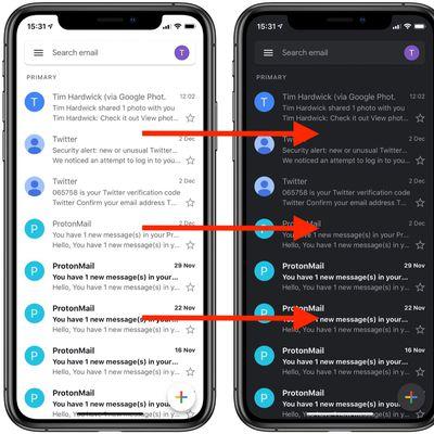 gmail app dark mode