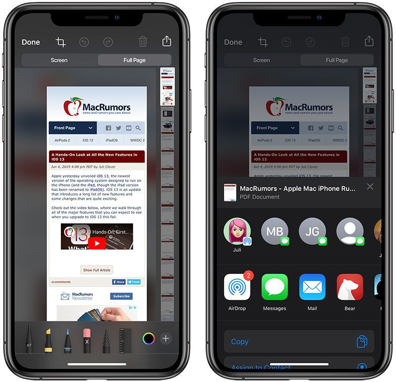 iOS 13 Safari Screenshot PDF