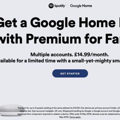 spotify free google home mini family plan uk