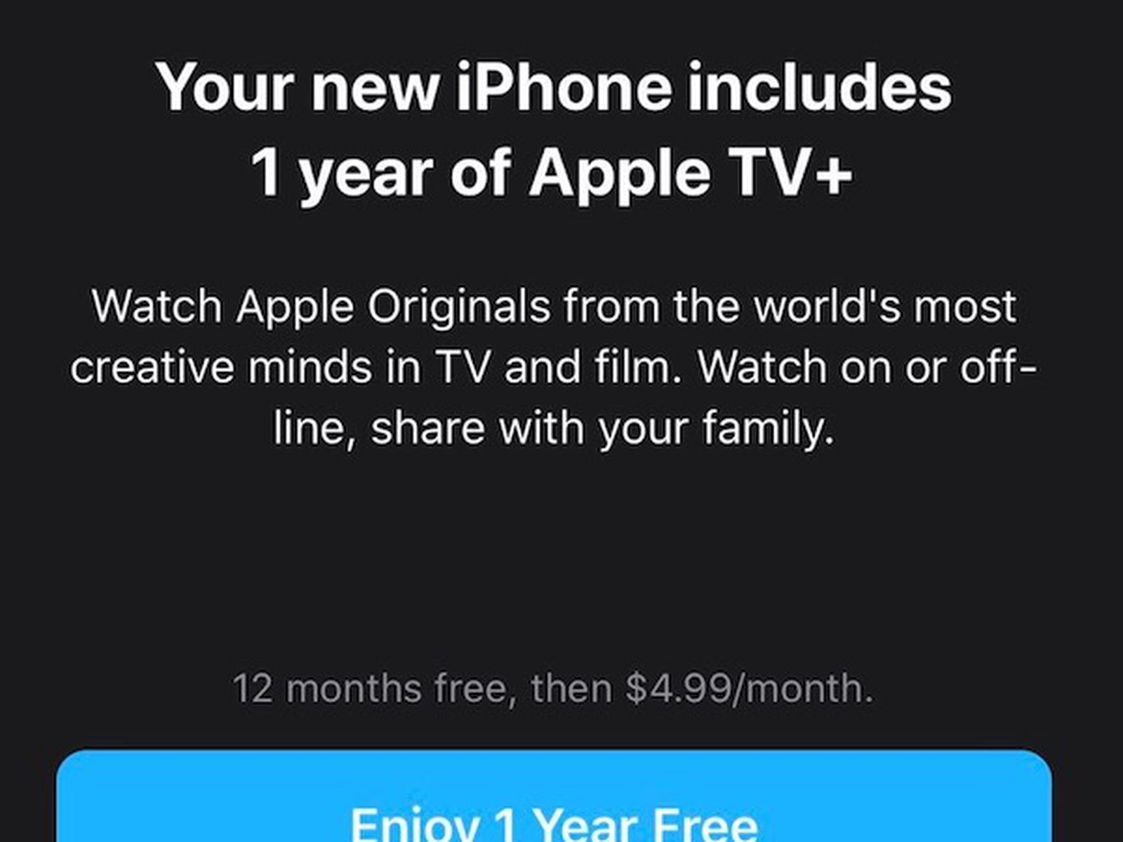 What to Do if You're Not Seeing Your Apple TV+ 1-Year Free Trial Offer -  MacRumors
