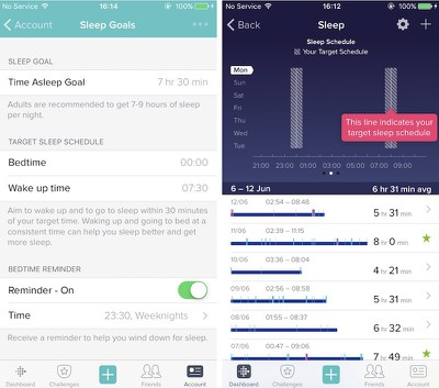 Fitbit iOS sleep schedule