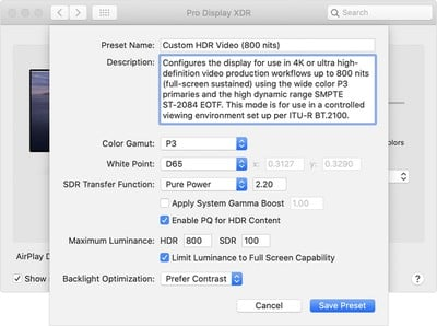 macos catalina system prefs display xdr presets customize preset
