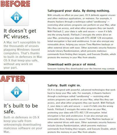 os x security marketing comparison