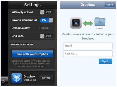cambox dropbox settings
