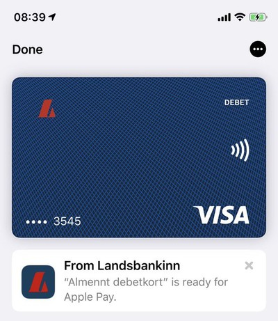 apple pay iceland bank card