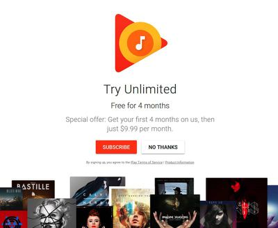 Google Play Music trial
