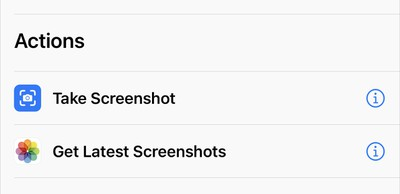 shortcuts action take screenshot