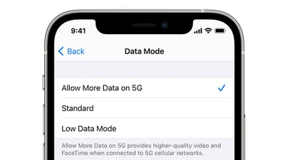 iphone 12 5g cellular data modes