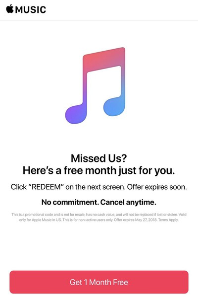 apple music one month trial