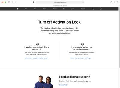 apple turn off activation lock