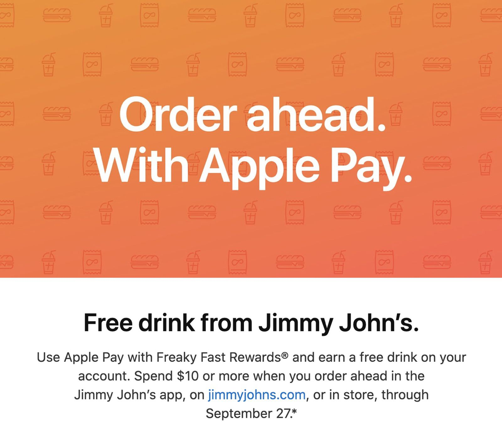 photo of Apple Pay Promo Offers Free Drink With Purchase From Jimmy John's image