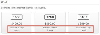 ipad 4 shipping 1 week