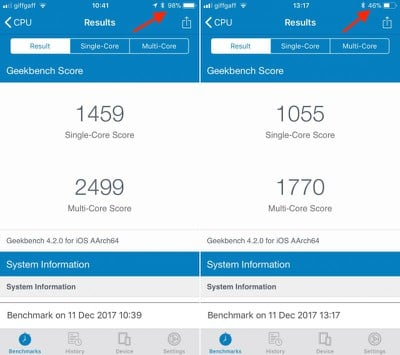 iphone 6s geekbench battery