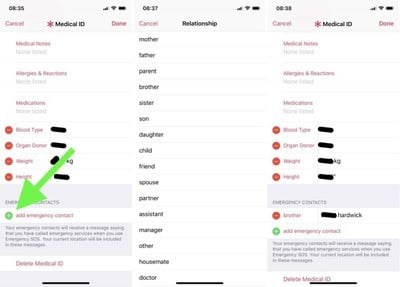 apple medical id emergency contact