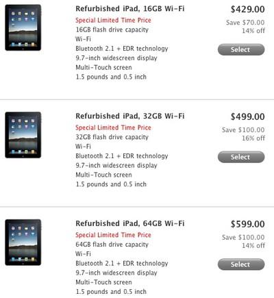 150717 refurb ipad limited pricing