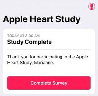 apple watch heart study complete