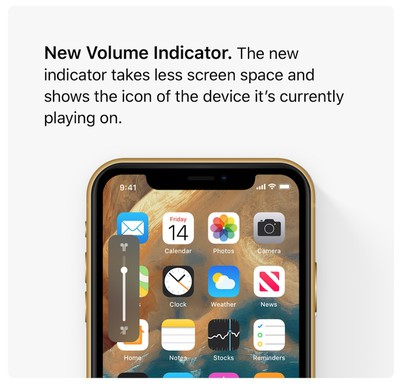 ios 13 volume indicator concept