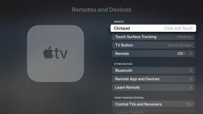 apple tv remote settings