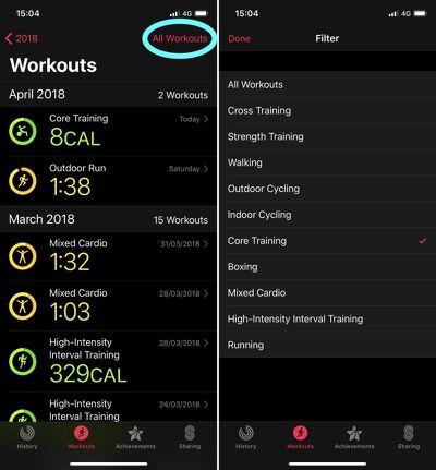 ios activity app filtering exercises