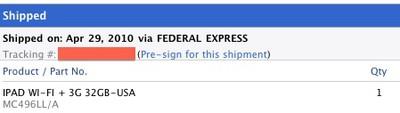 093604 ipad 3g shipping