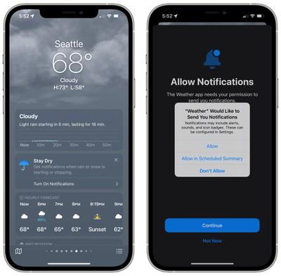 ios 15 weather app precipitation notifications