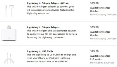lightning adapters cable shipping