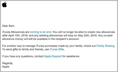 itunes allowance gone