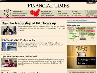 Financial Times Web App on iPad
