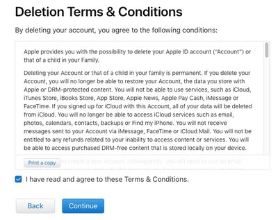 account deletion terms