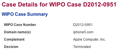wipo iphone5com terminated