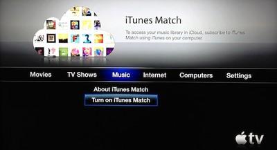 apple tv itunes match menu