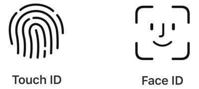 Íconos de identificación facial vs identificación táctil