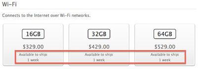 ipad mini shipping one week