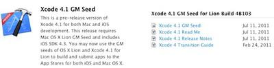 xcode 4 1 gm