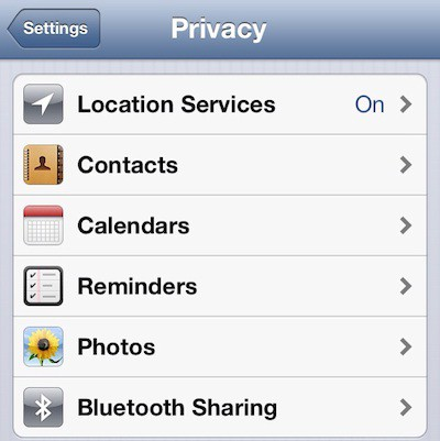 ios 6 privacy bluetooth