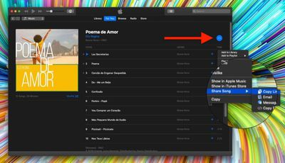 how to share a song or album in iTunes on Apple Music