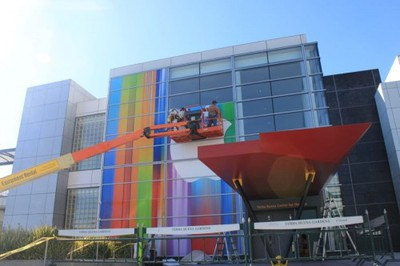 the full apple logo is now up the first iphone was announced a block away at the then brand new moscone west convention center