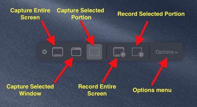 mojave screenshots menu explained