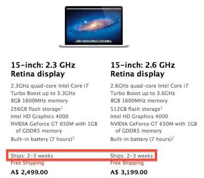 retina macbook pro ship 2 3 weeks jul13