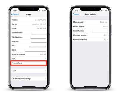 AirPods firmware and serial number