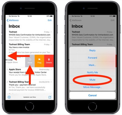 how to mute email threads ios 1