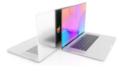 MacBook rainbow Apple logo concept