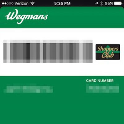 wegmans shoppers club apple pay