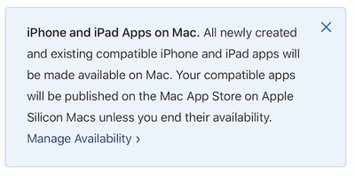 iphone and ipad apps on mac notice