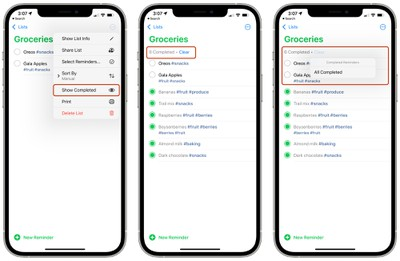 ios 15 reminders delete completed