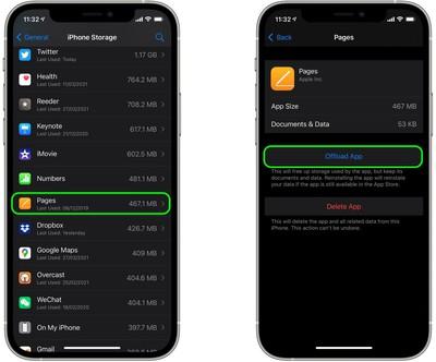 Elimina app ios1 non necessarie offload