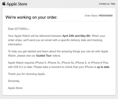 Apple Watch Email Order
