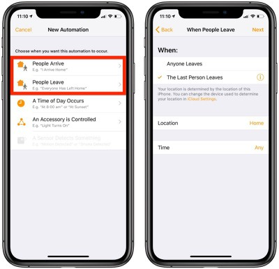 create homekit automations for people